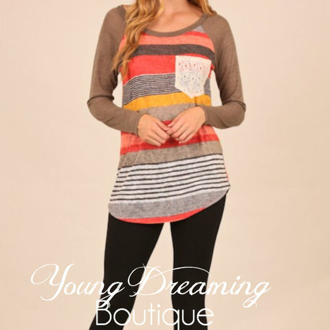 Coral Stripe Long Sleeve with Lace Pocket