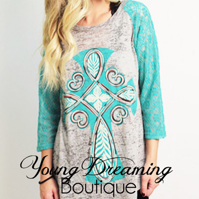 Turquoise Cross Burnout Tee!
