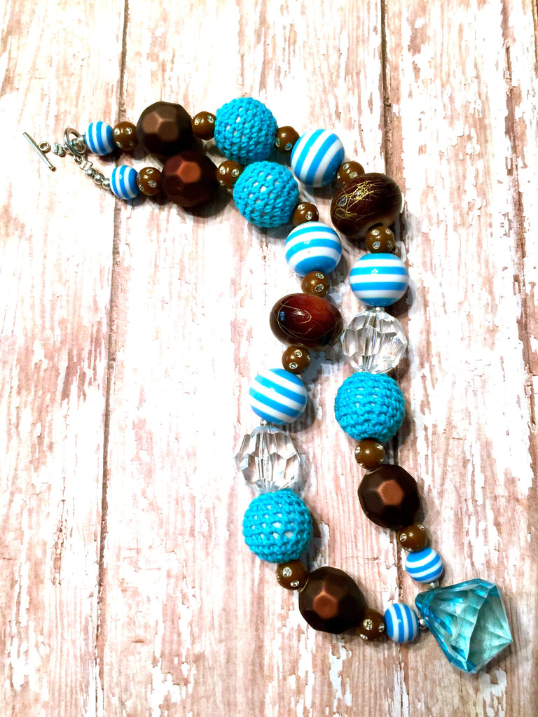 Blue and Brown Chunky Bubblegum Necklace!!