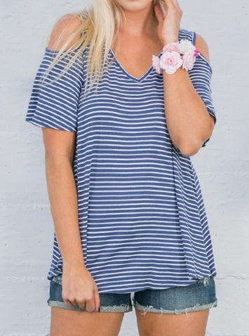 Navy Stripe Cold Shoulder Top