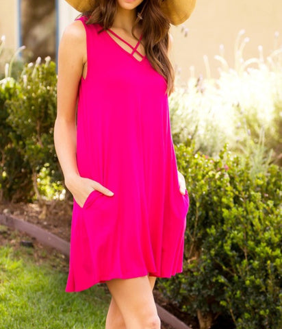 Fuchsia Criss Cross Dress!