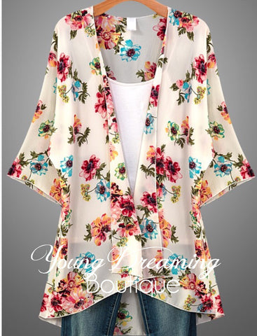Ivory Floral Print Cardigan!