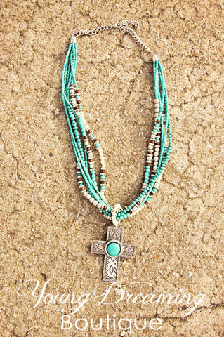 Turquoise Beaded Cross Necklace!