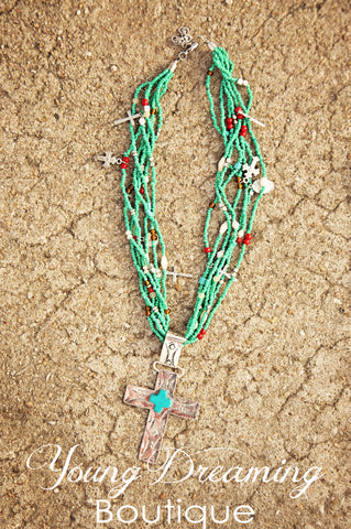 Western Turquoise Beaded Cross Necklace!
