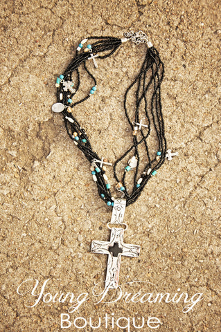 Western Black Beaded Cross Necklace!
