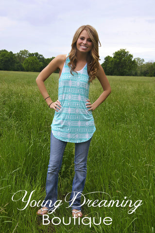 Mint Aztec Tank with Bow in the back!