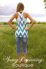 Teal and White Chevron Top!