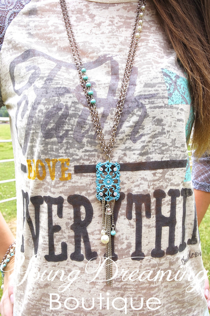 Turquoise and Pearl Tassel Necklace!