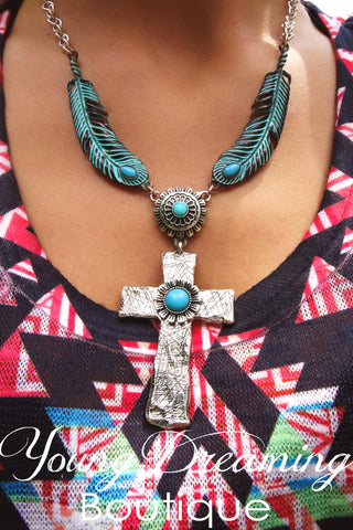 Feather and Cross with Turquoise Necklace!!