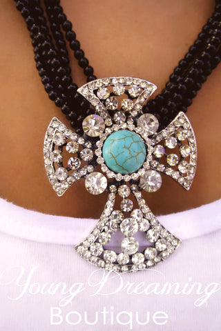 Cross necklace with Turquoise!