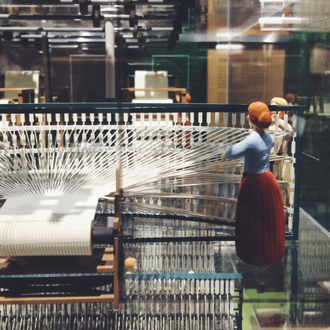 Model of Lowell Mill Girl at Work in Lowell Factory
