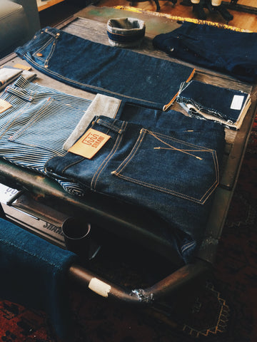 Selvage denim samples on display