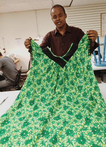 Man making dress at New Vestures in Lowell MA