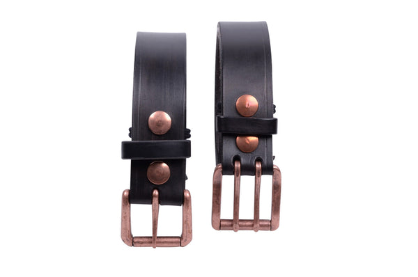 Handmade leather belt with copper buckle by Shaabi