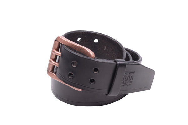 Onyx traveler belt with two-prong buckle by Shaabi