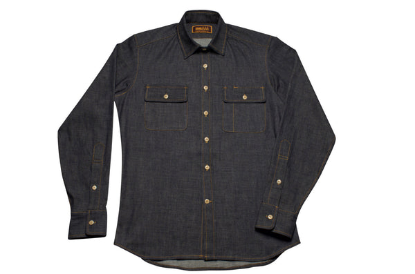 selvage chambray shirt by shaabi denim