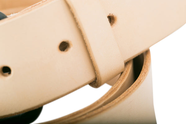 Leather belt hole detail by Shaabi