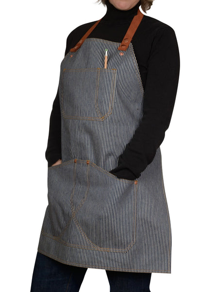 Women's railroad stripe denim apron by Shaabi