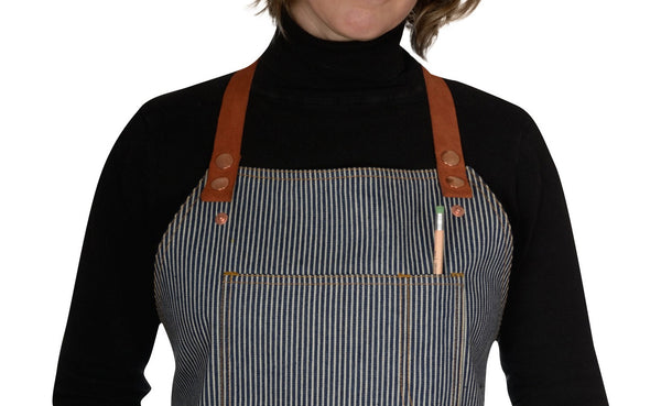 Women's hickory stripe apron by Shaabi