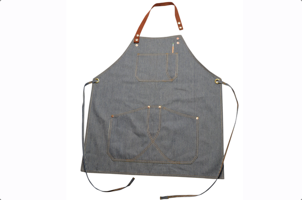 Hickory stripe denim apron by Shaabi