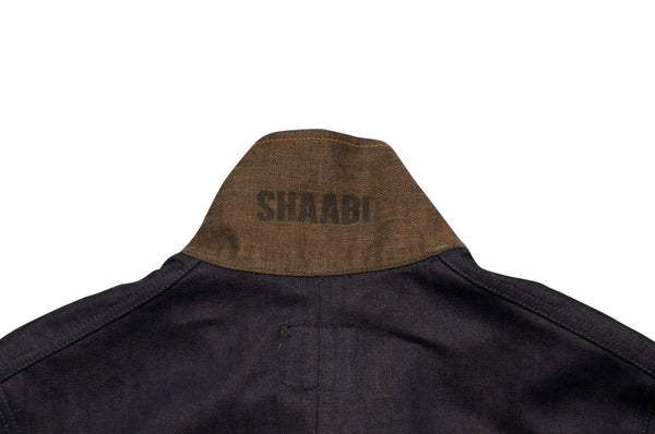 Collar detail on selvedge denim engineer jacket by Shaabi