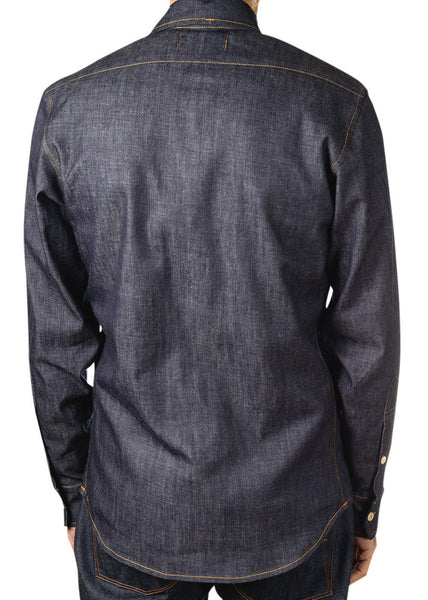 back of chambray shirt by Shaabi denim