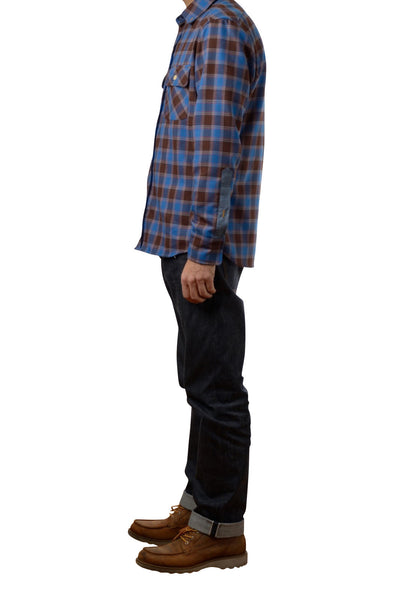 Profile view of men's button-down flannel shirt by Shaabi