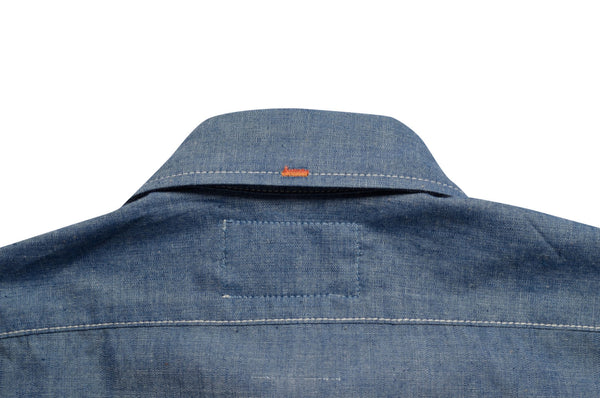 collar detail on chambray shirt by Shaabi denim