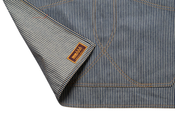 label detail on hickory stripe work apron by Shaabi