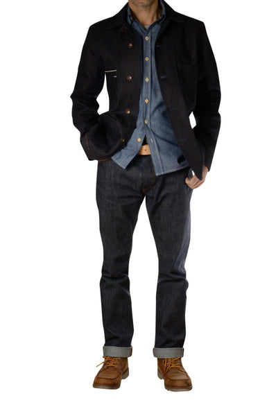 Shaabi denim outfit with selvage jeans and chambray shirt