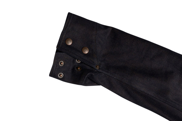Cuff detail on selvage denim engineer jacket by Shaabi Denim