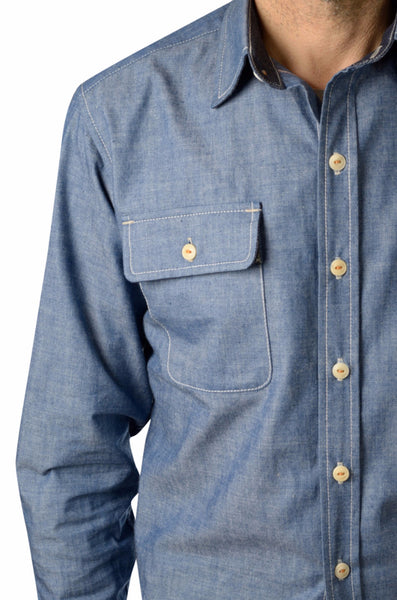 button-down men's chambray shirt by Shaabi denim