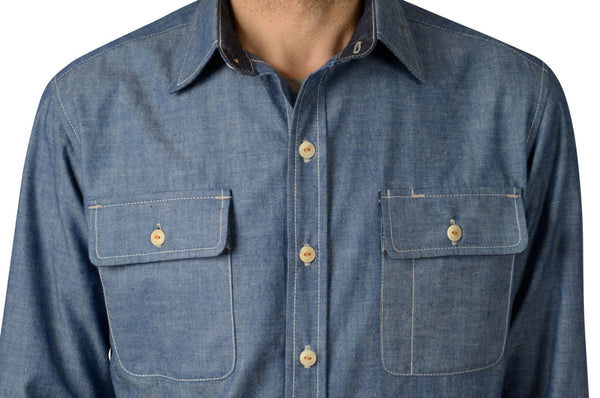 selvage chambray button-down shirt by shaabi denim
