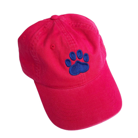 Paw Print Hat, Red