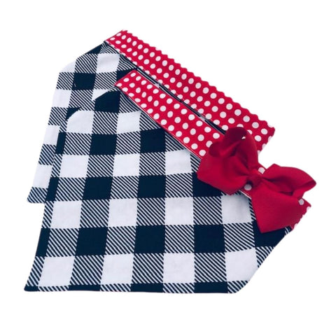 White Flannel Buffalo Plaid with Red
