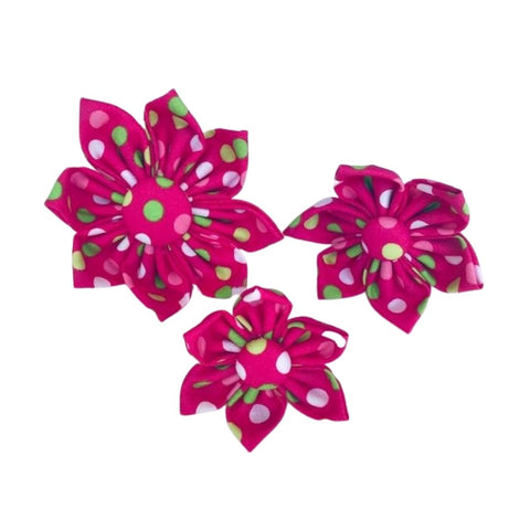 Hot Pink, with Green and White, Polka Dots Collar Flower