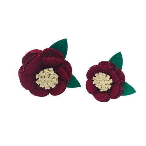 Maroon and Cream Felt Collar Flower