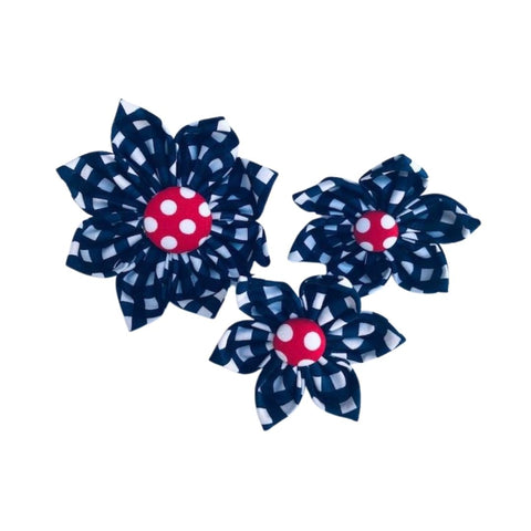 Navy Gingham with Red Polka Dot Center Collar Flowers