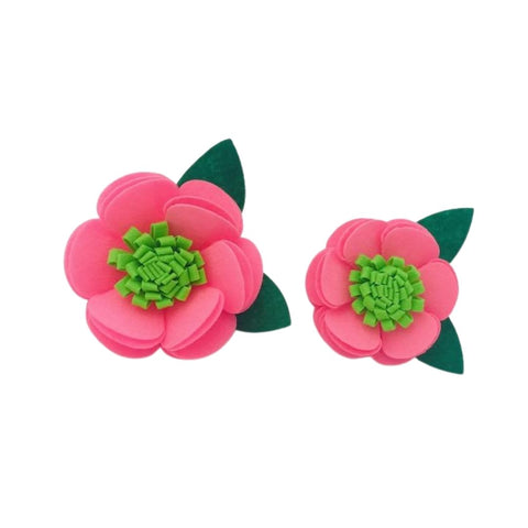 Pink & Green Felt Collar Flower