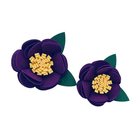 Purple/yellow felt collar flower