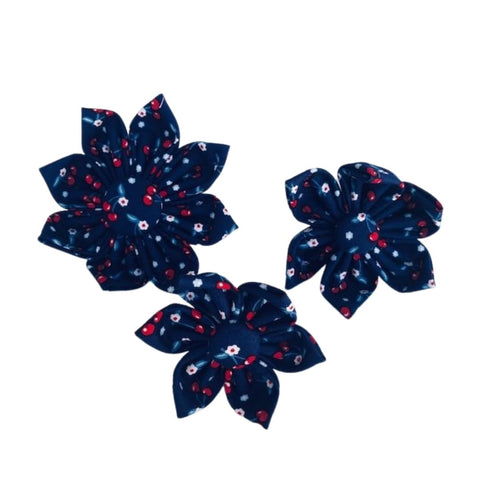 Red Cherries on Navy Collar Flower