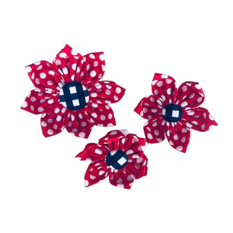 Red Polka Dot with Navy Gingham Center Collar Flower