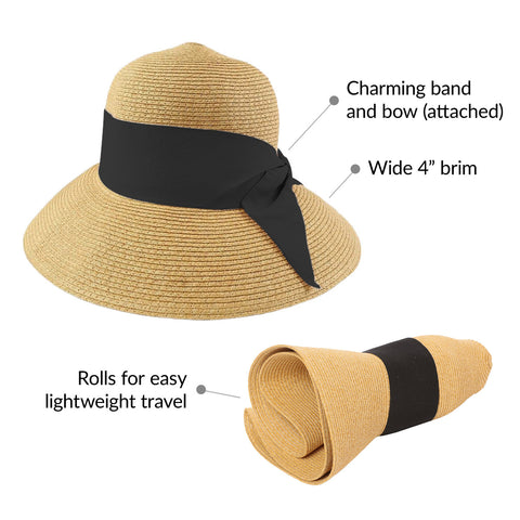 nozone rolled straw hat for women with bow