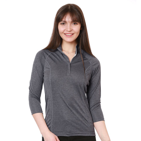 nozone womens sun protective lightweight breathable 3/4 sleeve polo equestrian gray upf 50+