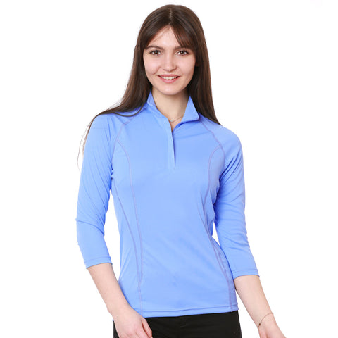 Nozone tuscany 3/4 sleeve sun protective equestrian polo golf womens shirt blue lightweight breathable
