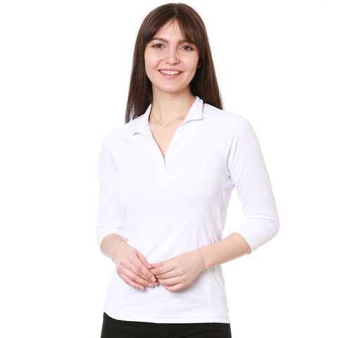 nozone tuscany womens sun protective 3/4 sleeve polo - white riding breathable lightweight soft