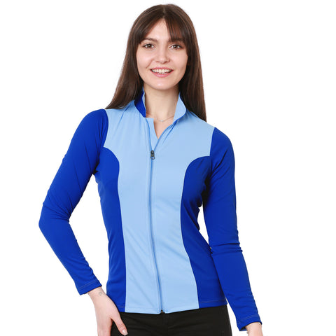 Nozone Calabria Equestrian Sun Shirt with Full Zip UPF 50+ blue
