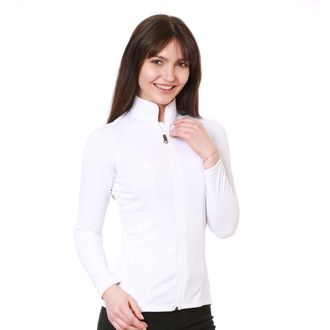 Nozone Women's UPF 50+ Long Sleeved White Equestrian Shirt