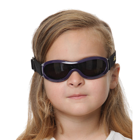 Kids UV400 sun shades with elasticized strap in deep purple by Nozone