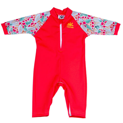 Nozone baby girl sun protective upf swimsuit with diaper zipper red print